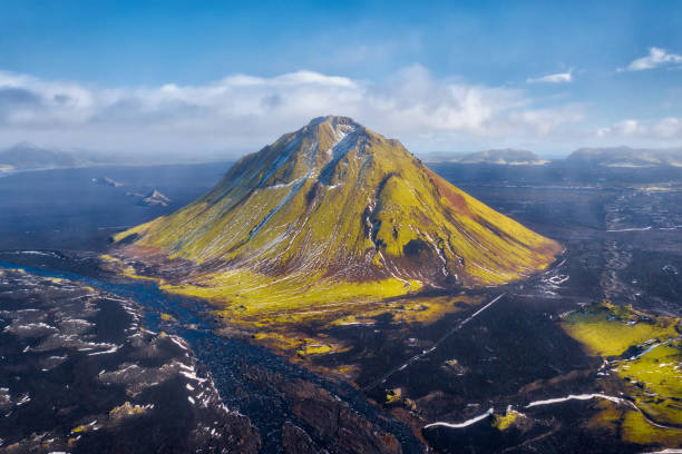 Maelifell Mountain in the Highlands of Iceland stock photo