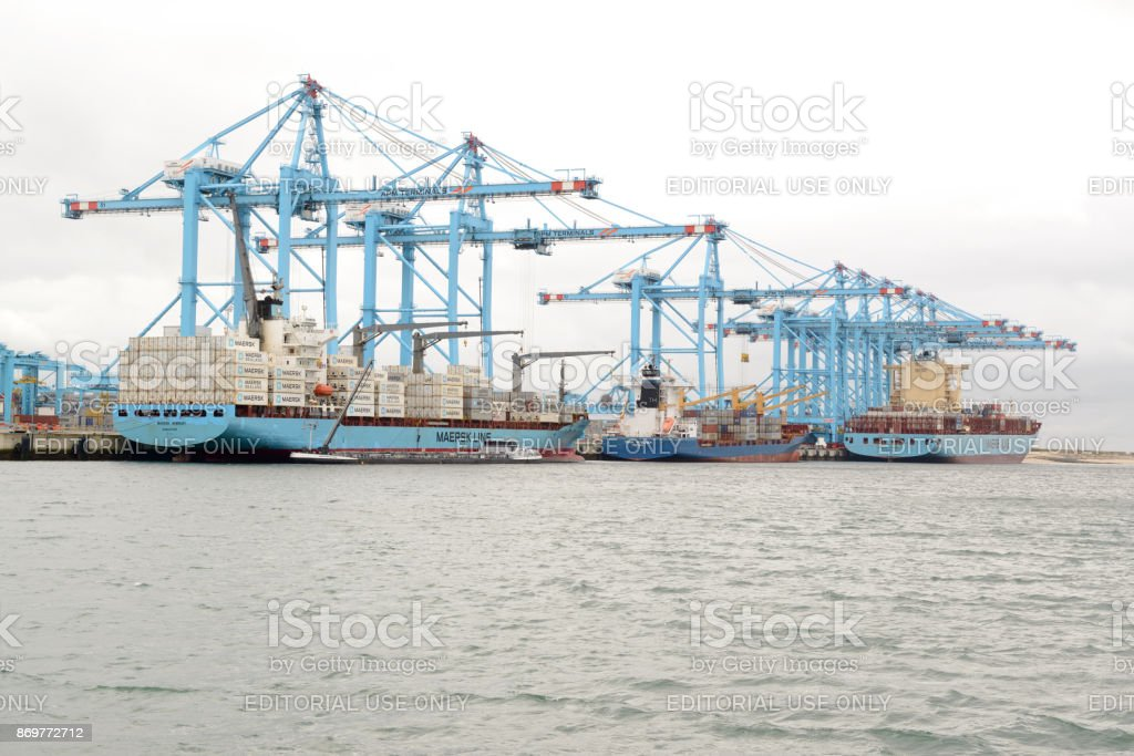 Maersk container vessel at APM Terminal, Rotterdam harbor stock photo