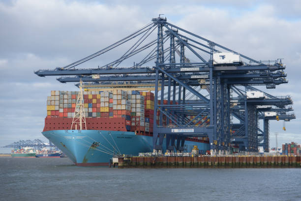 Maersk Line container ship Milan Maersk docked at Felixstowe port in Suffolk stock photo