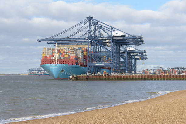 Maersk Line container ship Milan Maersk docked at Felixstowe port in Suffolk with other ships in background stock photo