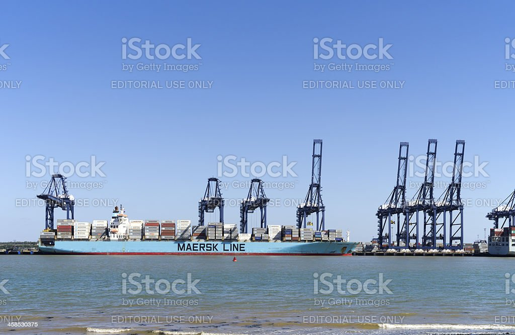 Maersk Line container ship with cranes at Felixstowe stock photo