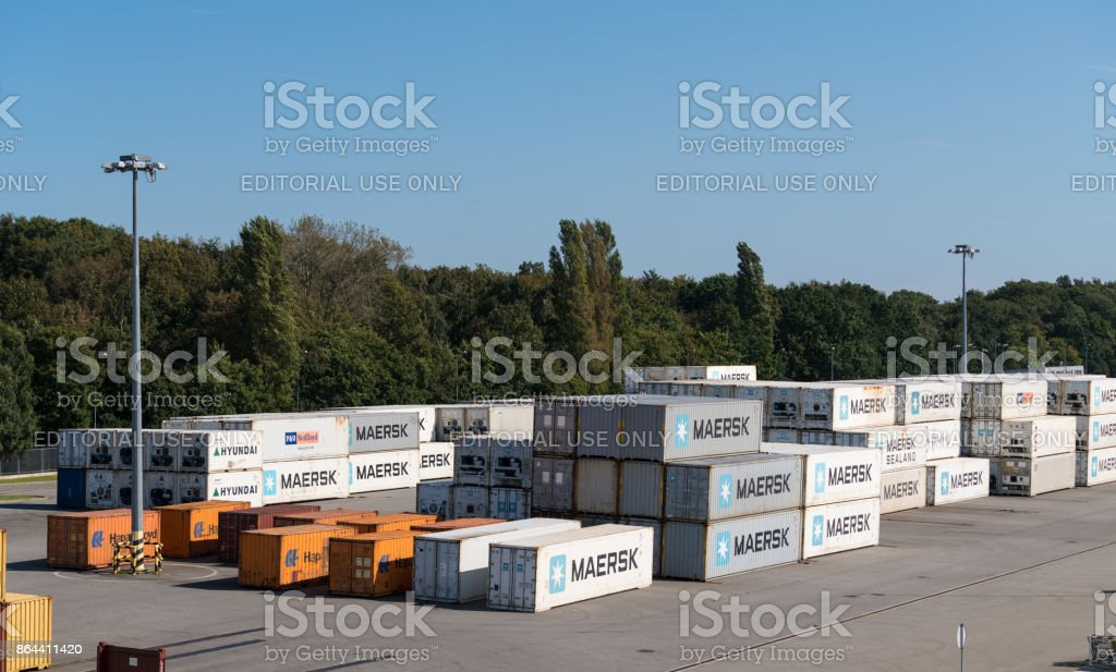 Maersk shipping containers in Gdansk, Poland stock photo