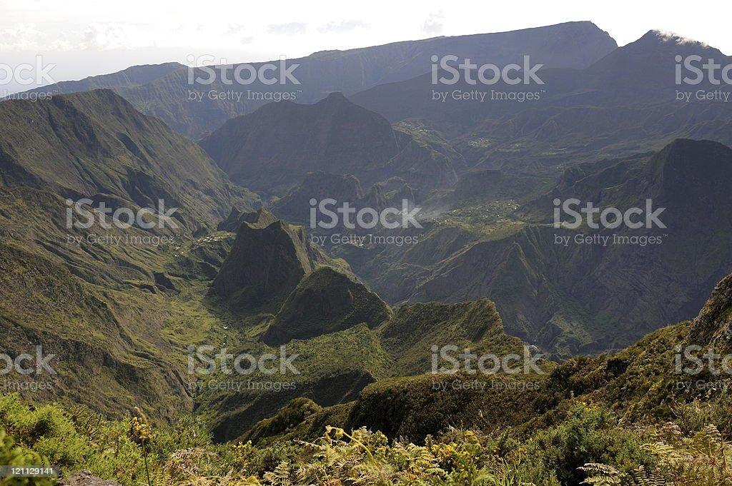 Mafate caldera view from the maido stock photo