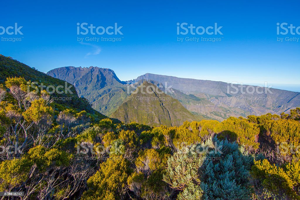 Mafate cirque in Reunion Island stock photo