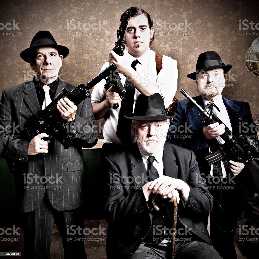 Mafia family, boss with sons stock photo