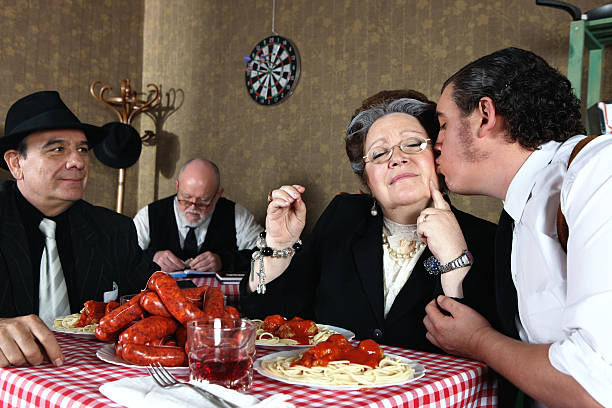 Mafia family dinner stock photo