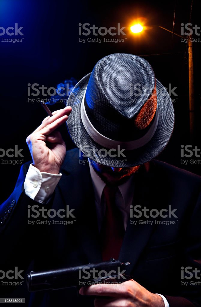Mafia Mob Man With Gun and Cigar royalty-free stock photo