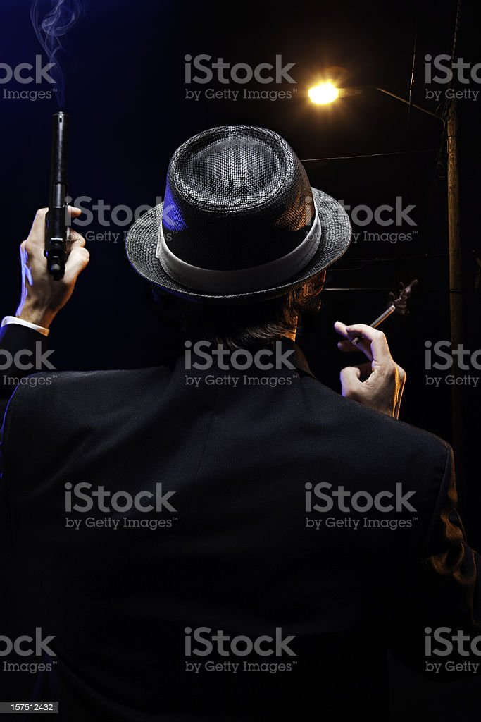 Mafia Mob Man With Gun and Cigar royalty-free stock photo