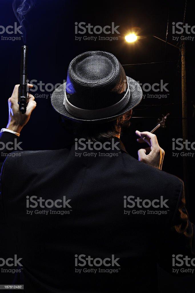 Mafia Mob Man With Gun and Cigar stock photo