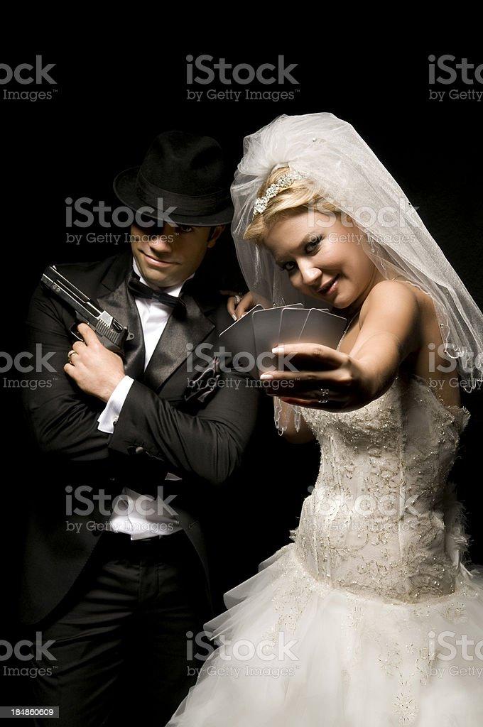Mafia Newlywed Couple royalty-free stock photo