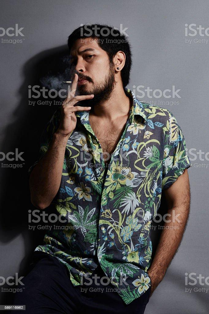 Mafia smoking feeling serious realistic stock photo