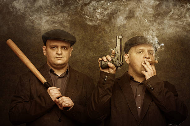 mafia twins oldschool hooligans with baseball bat and pistol gangster stock pictures, royalty-free photos & images