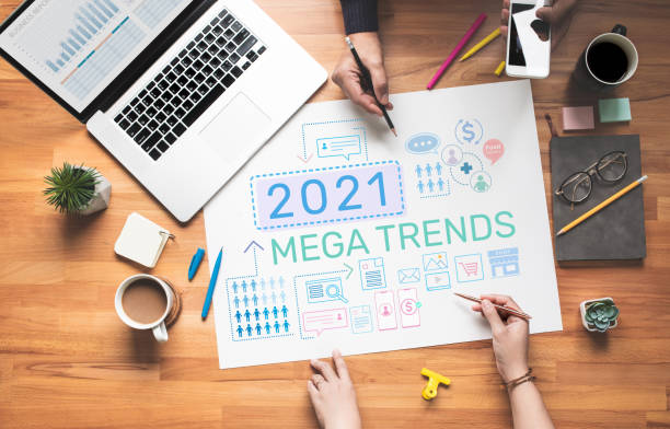 2021 Maga trends with digital marketing concepts.Bsusiness plan stock photo