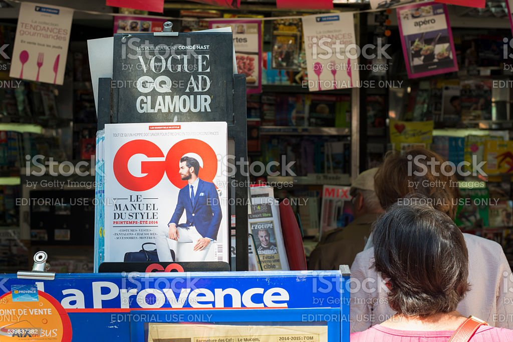 GQ magazine at shop in Aix-en-Provence, France stock photo