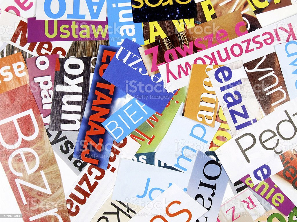 Magazine cuttings - incomplete words stock photo