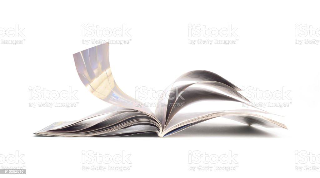 magazine isolated on white background stock photo
