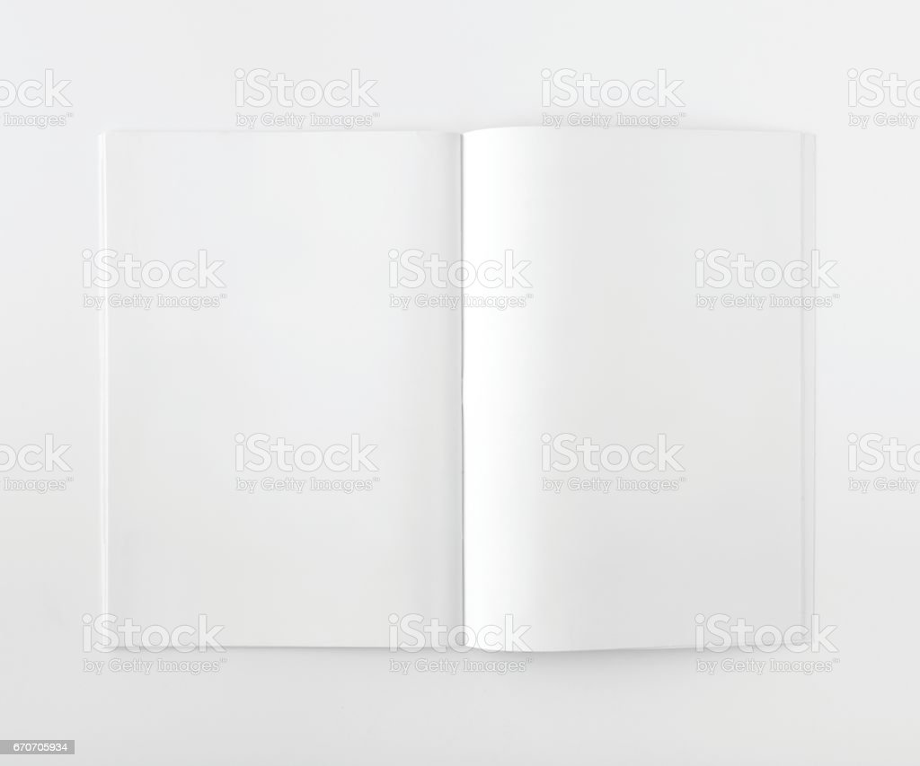 Magazine Mock Up On White Background stock photo