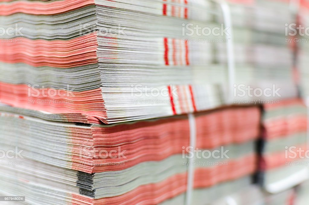 Magazine, newspaper production and printing process stock photo