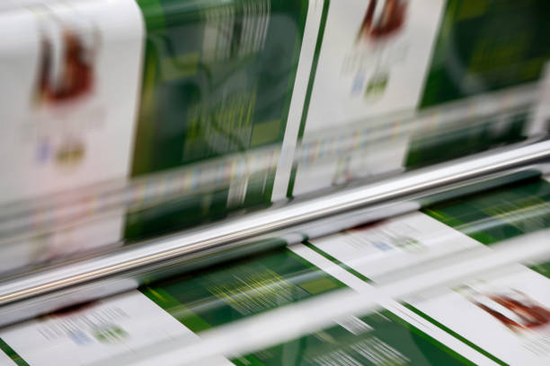 Magazine offset printing machine close up stock photo