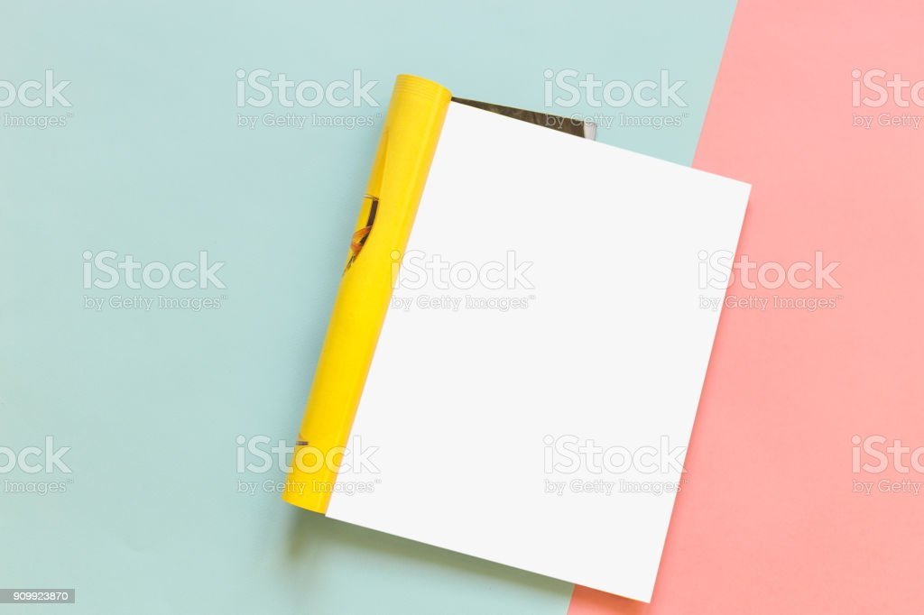 Magazine page on a pink and blue background. Fashion magazine. Mock up stock photo