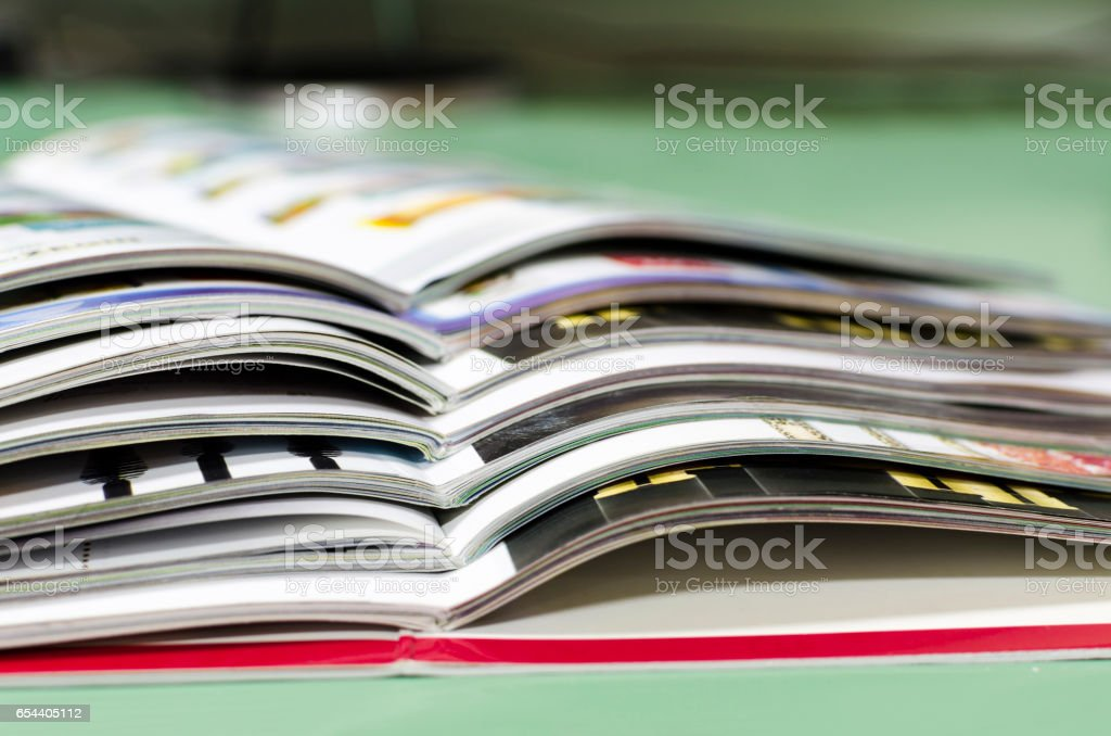 magazine spread in the office, in the background and the reception office stock photo