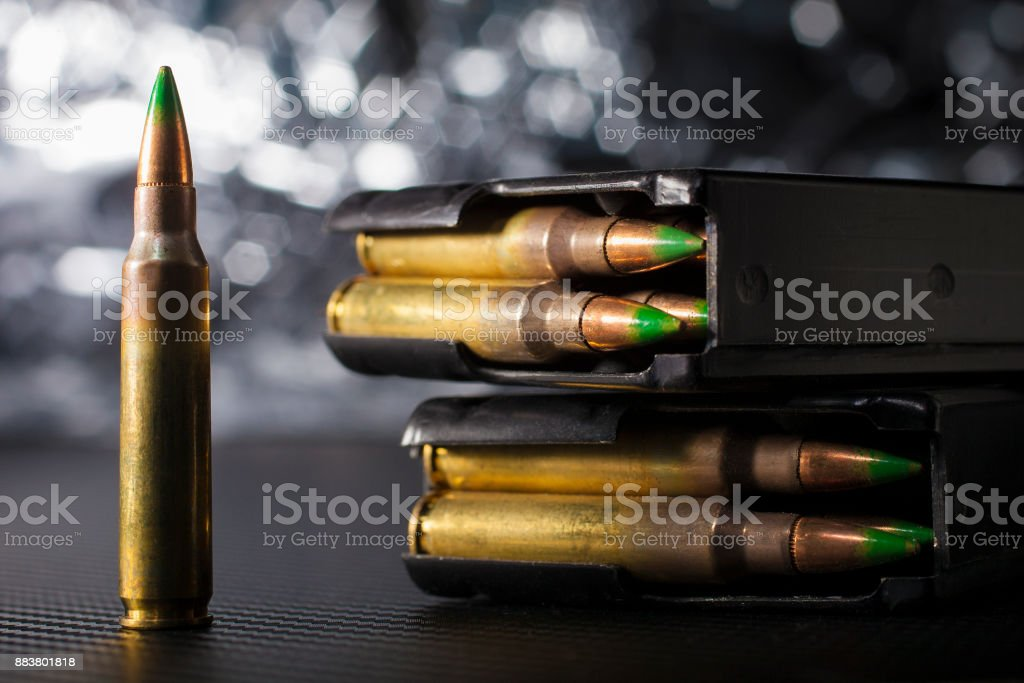 M-4 magazines and bullets stock photo