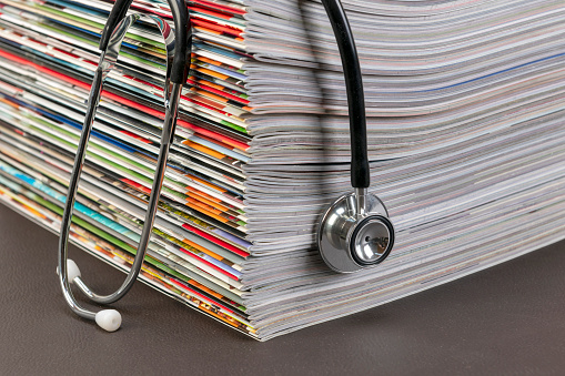 Magazines and stethoscope.