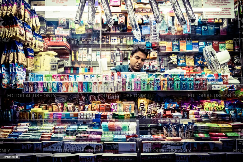 Magazines, candy and snack street shop stock photo