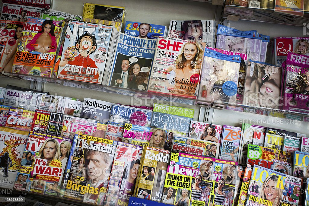 UK Magazines on a Newsstand royalty-free stock photo