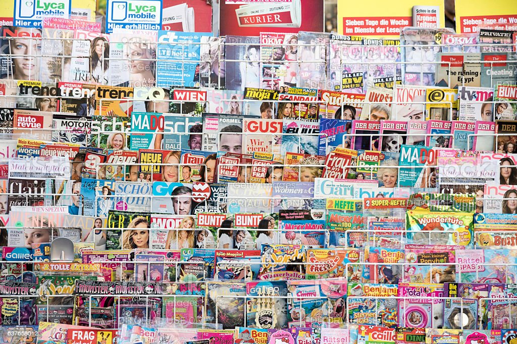 Magazines on news stand in Vienna stock photo