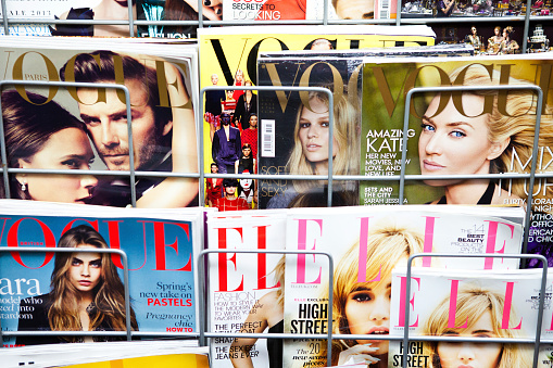 Athens, Greece - December 19, 2013 Stack of magazines for women on a newsstand at Athens Omonoia Square, Vogue Elle