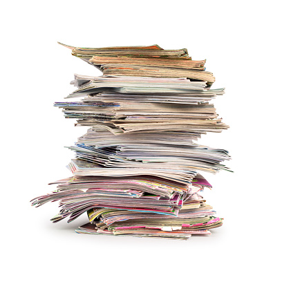 magazines stack isolated