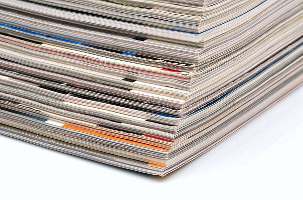 Magazines stack stock photo