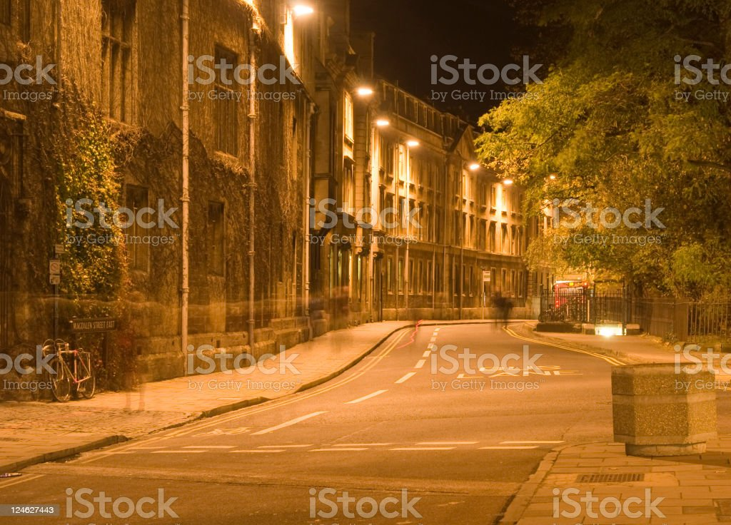 Magdalen East St Oxford at night royalty-free stock photo