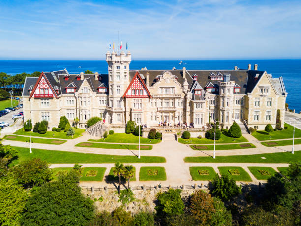 Magdalena Palace in Santander Magdalena Palace or Palacio de la Magdalena aerial panoramic view. It is a palace located on the Magdalena Peninsula in Santander city, Spain. santander spain stock pictures, royalty-free photos & images