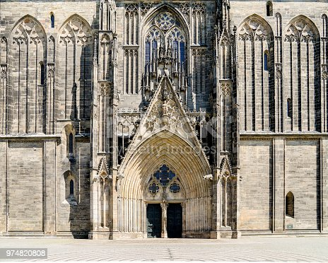 MAGDEBURG, GERMANY - June 11, 2018: Magdeburg cathedral entrance door in nice weather