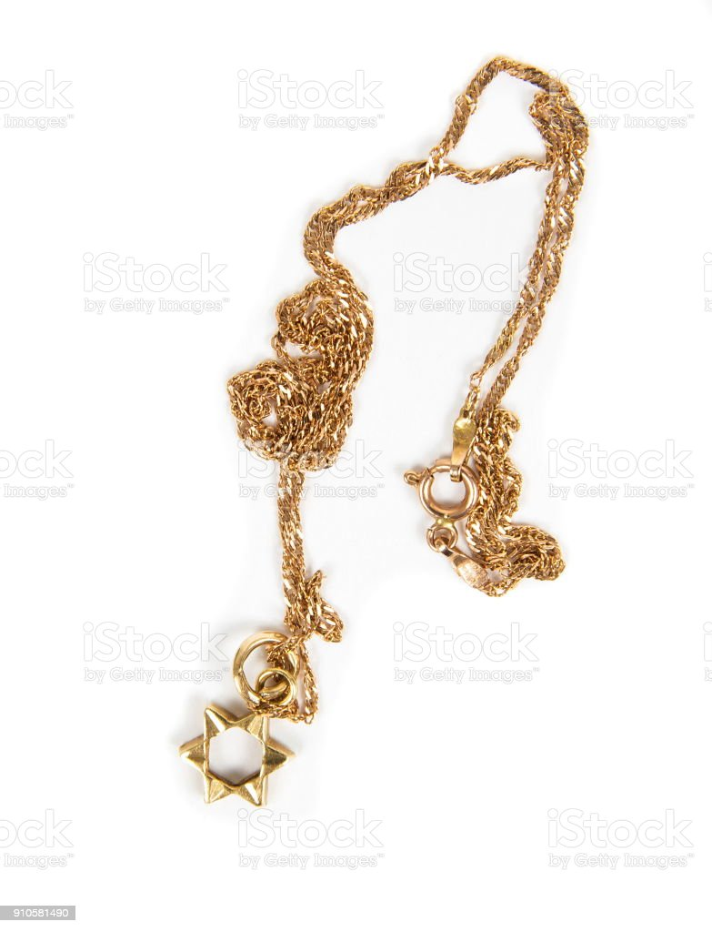 Magen David gold necklace closeup stock photo