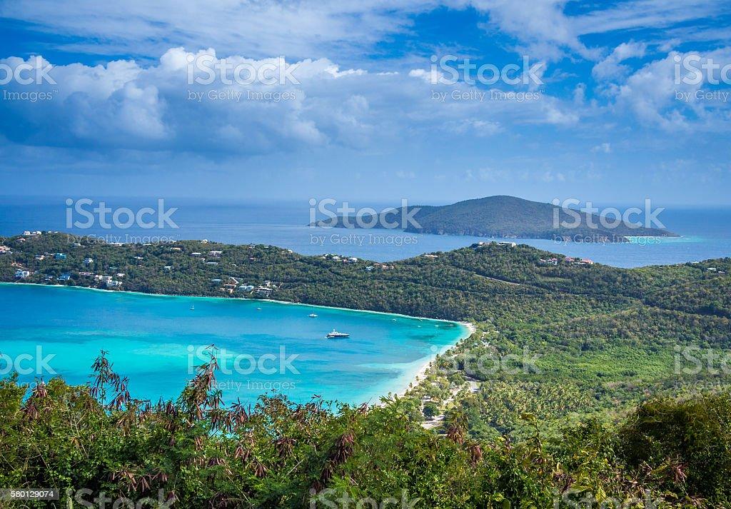 Magens Bay, landmark of St. Thomas island stock photo