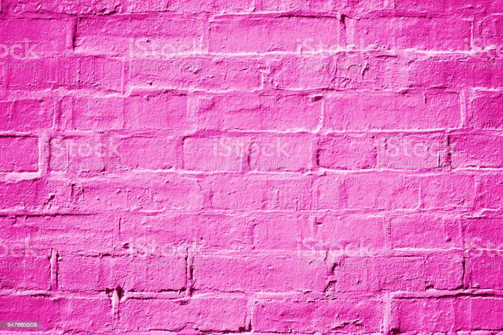 Magenta Fuchsia Hot Pink Brick Wall Background Texture stock photo