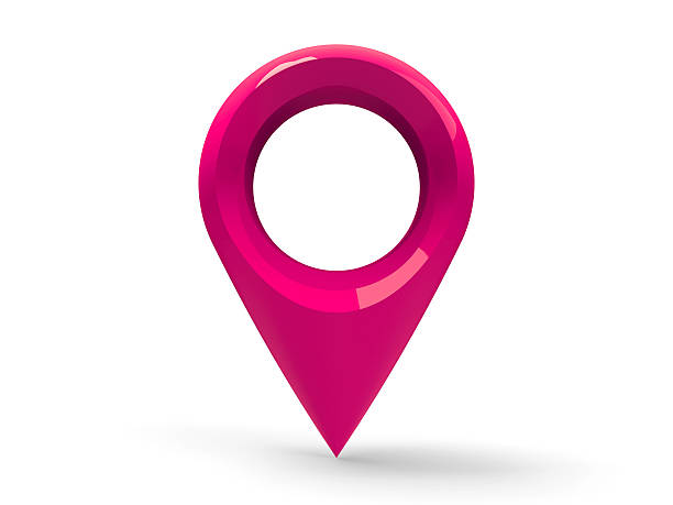 Magenta map pointer stock photo