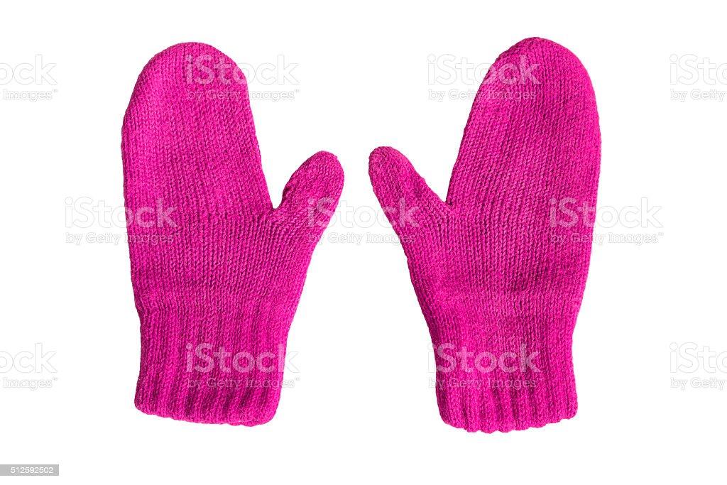 Magenta mittens stock photo