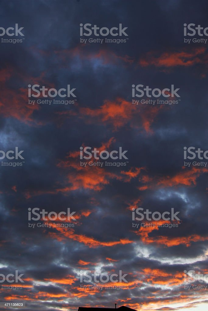 Magenta Orange and Gray Cloudscape at Sunset royalty-free stock photo