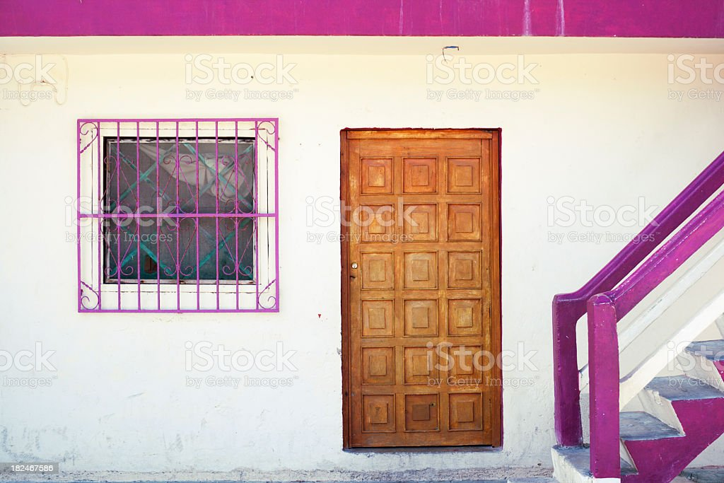 magenta trim stucco exterior wooden carved front door mexico style royalty free stock - Exterior Door Trim Stucco