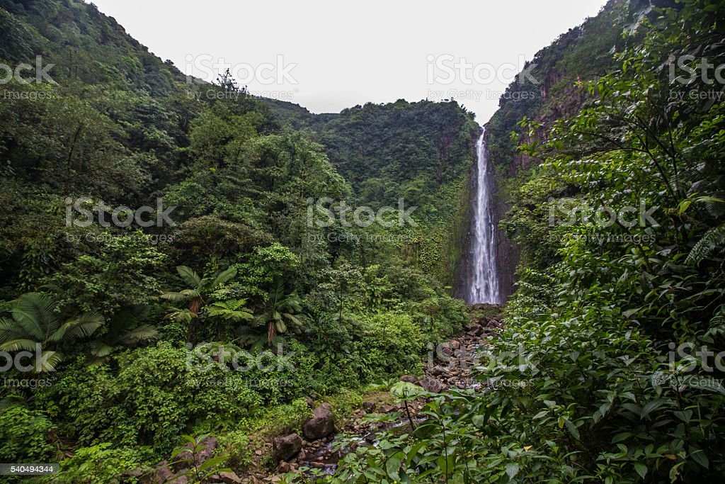 Magestic waterfall in the caribbean stock photo