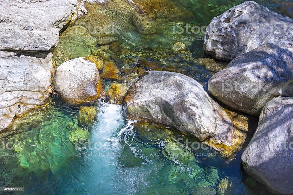Maggia river flowing stock photo