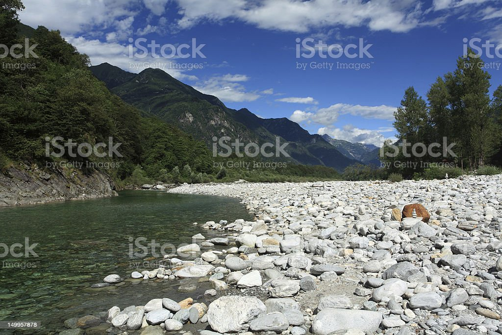 Maggia valley in Ticino Switzerland stock photo