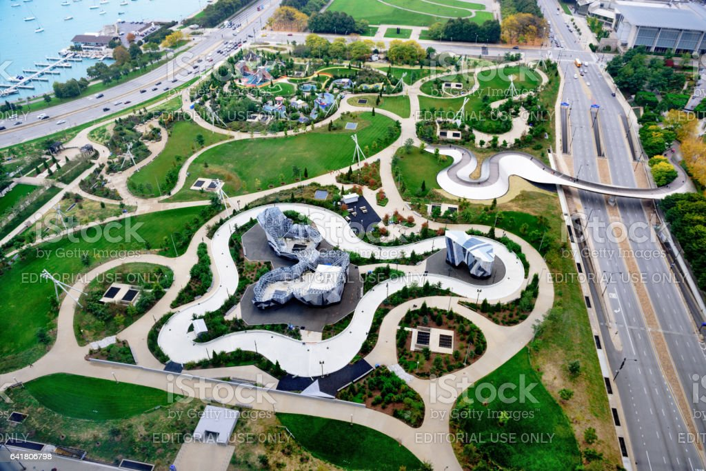 Maggie Daley Park, downtown Chicago, from above stock photo