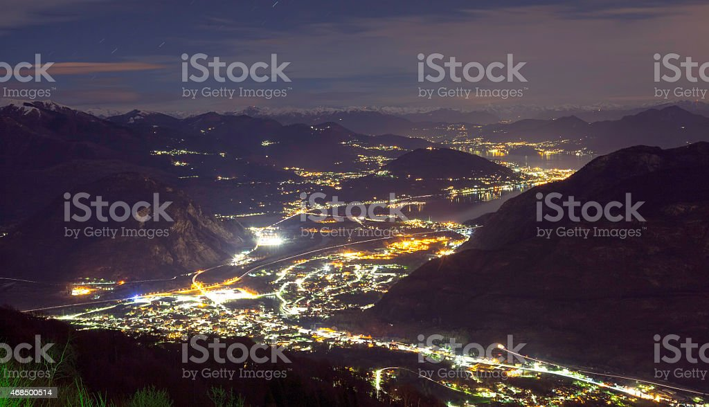 Maggiore and Orta lakes, night aerial view. Color image stock photo
