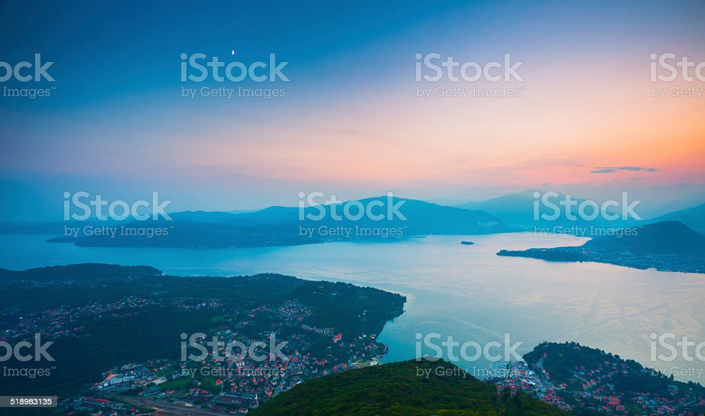 Maggiore Lake in Italy at dusk. stock photo