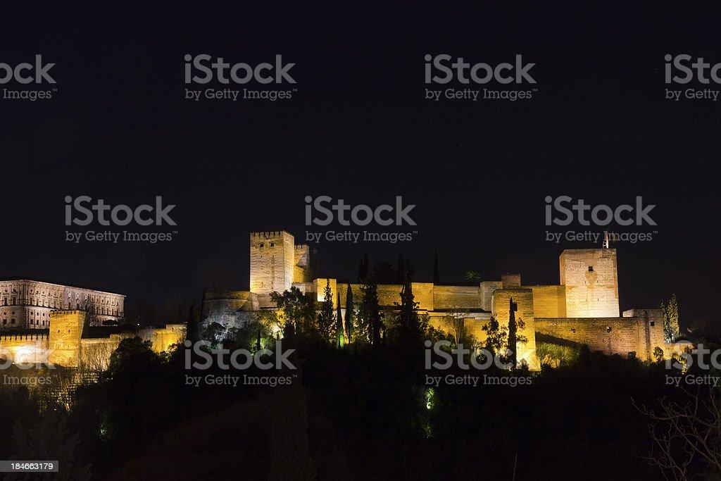 Magic Alhambra by night. stock photo